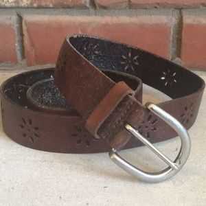 Aeropostale Russet Daisy Punched Leather Belt